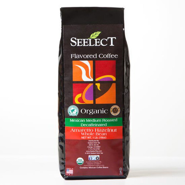 Amaretto Hazelnut Flavored Decaf Coffee, Organic